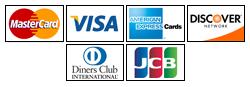 Visa, Mastercard, American Express, Discover, Diners Club, JCB
